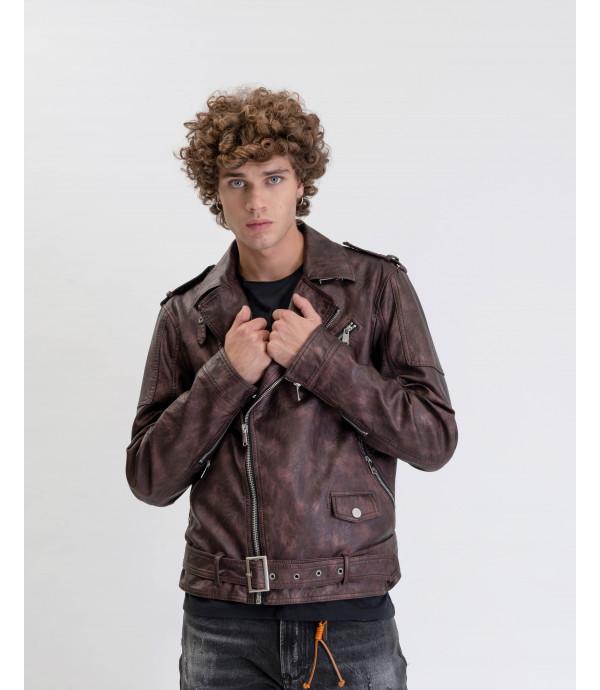 Faux-leather jacket with metallic finish
