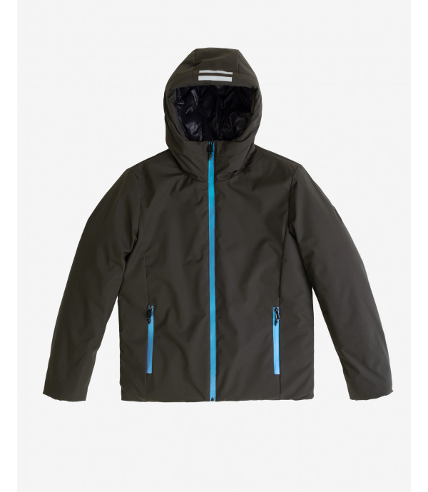 Padded long jacket with iridescent zip