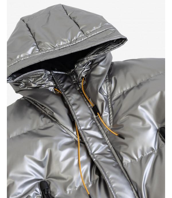 Puffer jacket with detachable shoulder straps