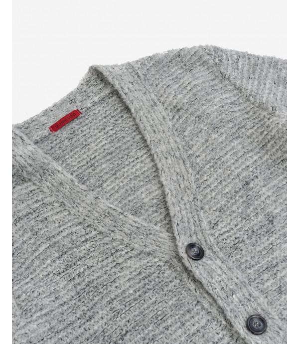 Boucle yarn cardigan