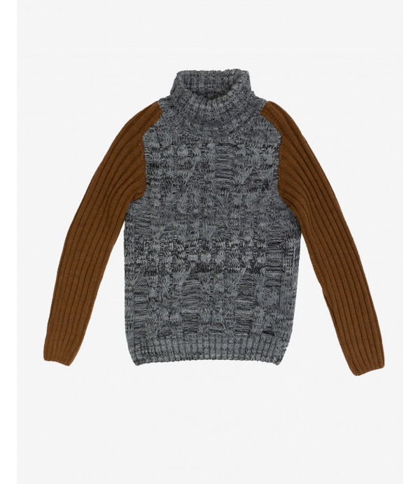 Cable knit turtleneck jumper with contrasting sleeves