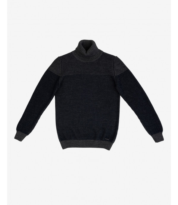 Inverted sections turtleneck jumper
