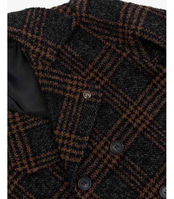 Wool mix check Peacoat