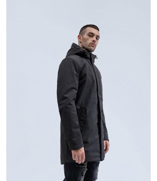 Padded long jacket with detachable shoulder strap