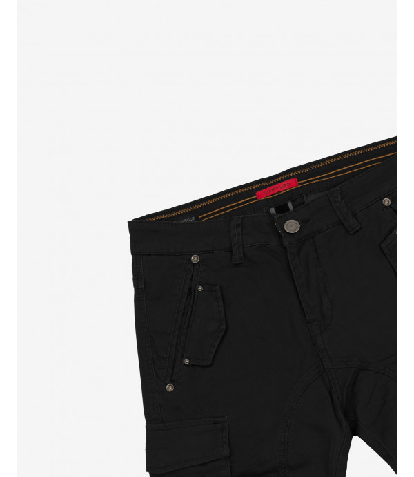 Ribbed slim fit cargo trousers