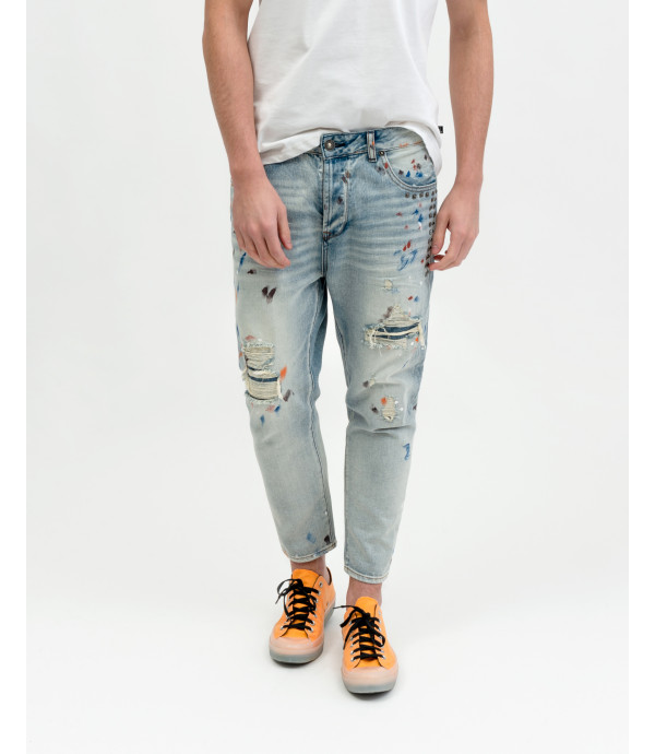 Jeans Mike carrot cropped fit con schizzi e borchie