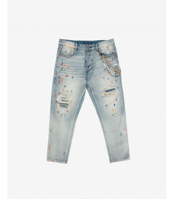 Mike carrot cropped fit jeans with buds and paint drops