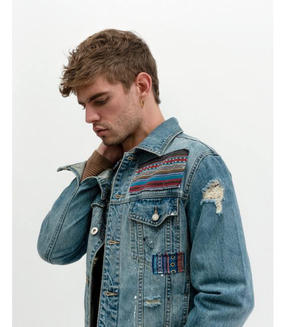 Denim jacket with Atzec style patches
