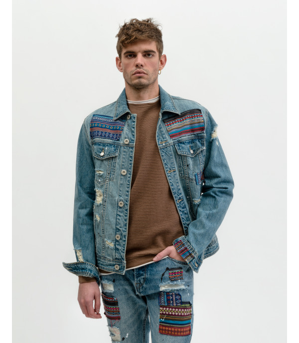 More about Denim jacket with Atzec style patches