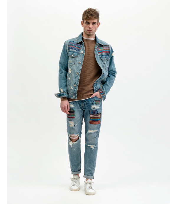 Bruce regular slim fit jeans with Atzec style patches
