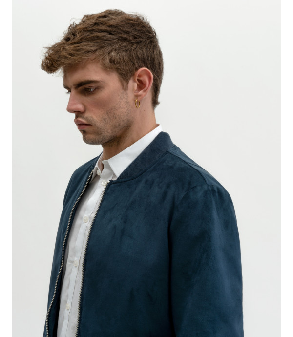 Faux-suede bomber jacket