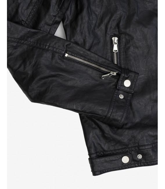 Faux-leather biker jacket