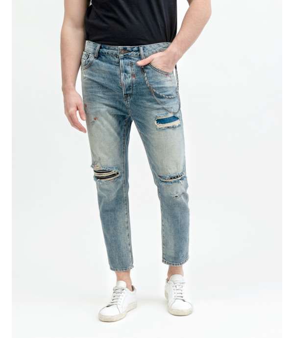 Mike carrot cropped fit jeans with patches