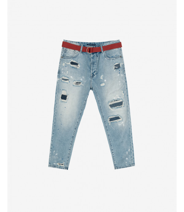 Mike rip and repair carrot cropped fit jeans