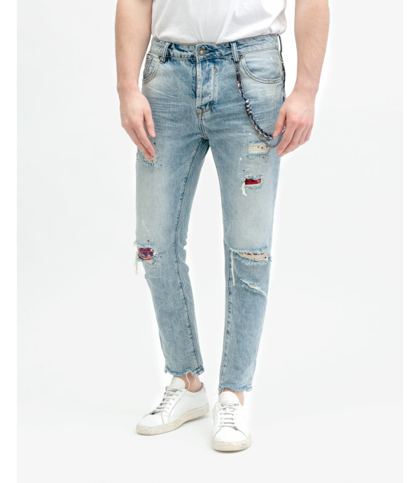 Adam light wash regular cropped fit jeans with patches