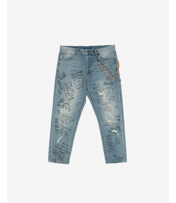 Mike carrot cropped fit jeans with prints