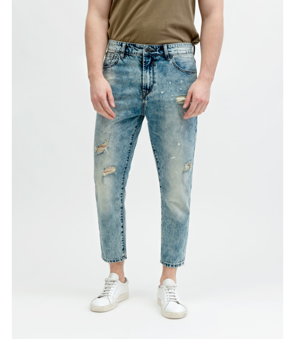Mike light wash carrot cropped fit jeans