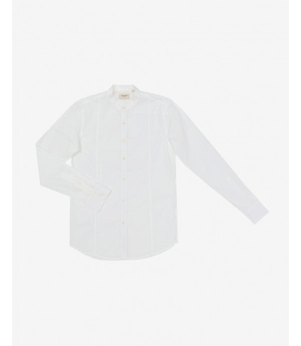 Slim fit basic mandarin collar shirt