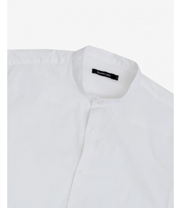 Regular fit basic mandarin collar shirt