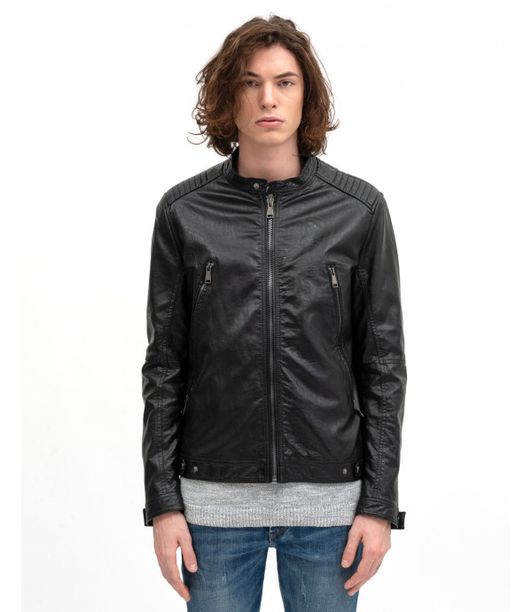 More about Faux-leather biker jacket
