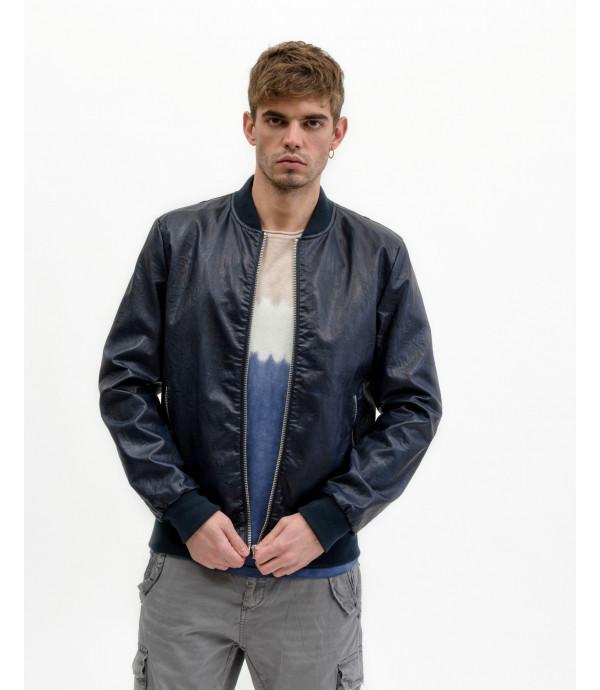Blue Faux-leather bomber jacket