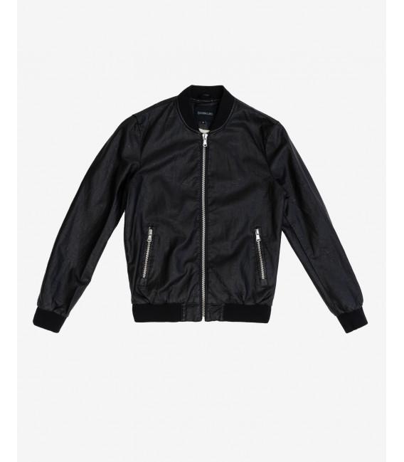 Balck Faux-leather bomber jacket