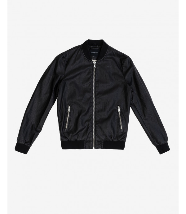 More about Balck Faux-leather bomber jacket