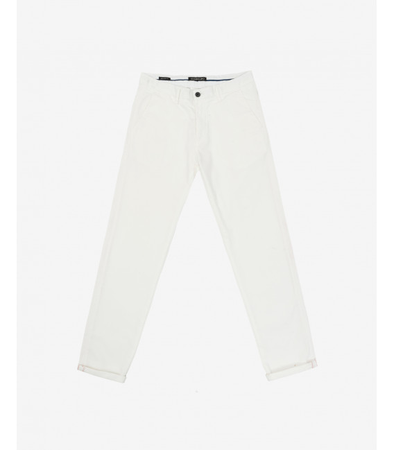 Chinos in striped fabric