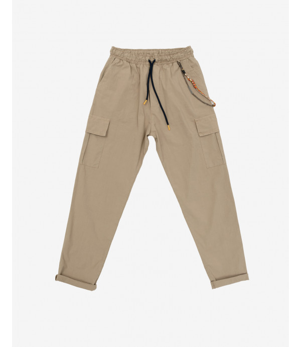 Drawstring cargo trousers with accessory