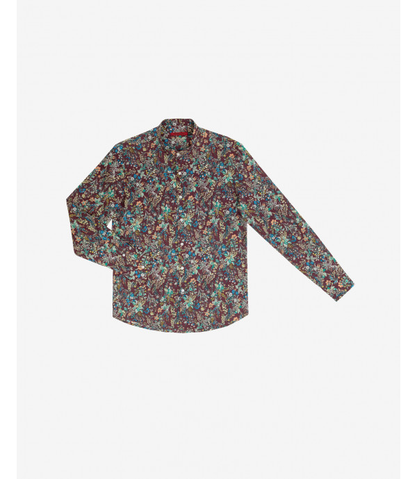 Floral patterned mandarin collar shirt