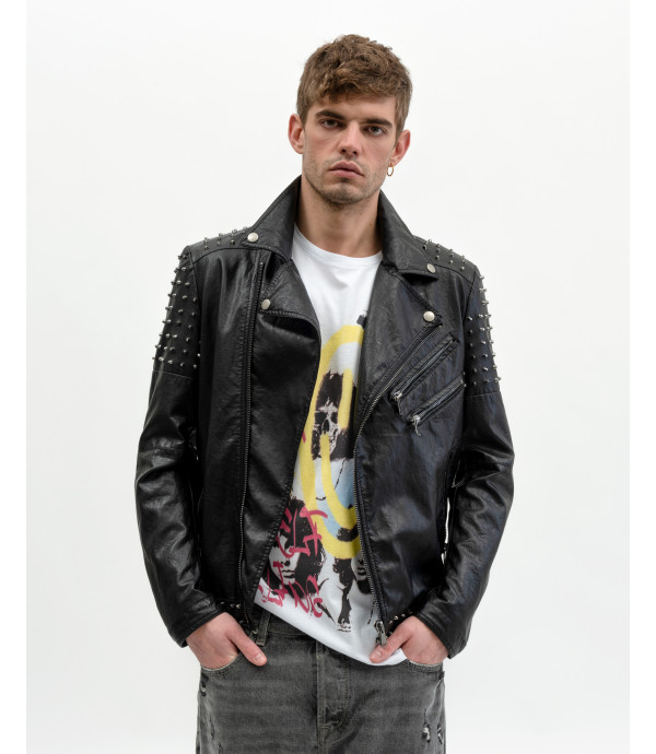 Faux-leather biker jacket with studs