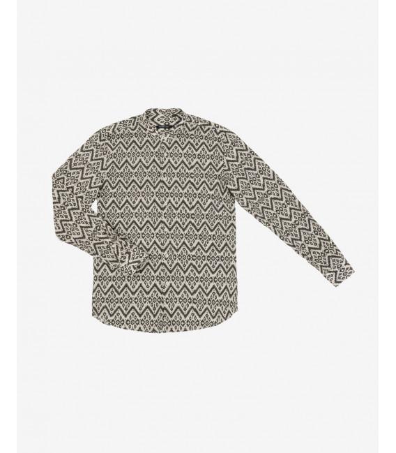 Mandarin collar abstract patterned shirt