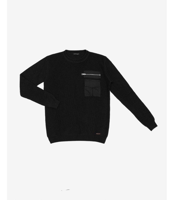 Ribbed sweater with pocket