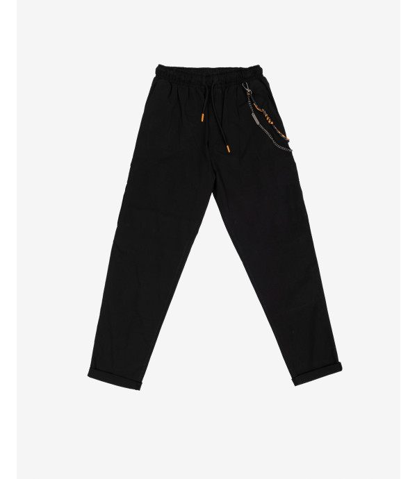 Drawstring trousers in paper touch cotton
