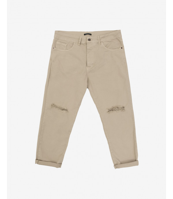 Relaxed fit trousers with knee rips