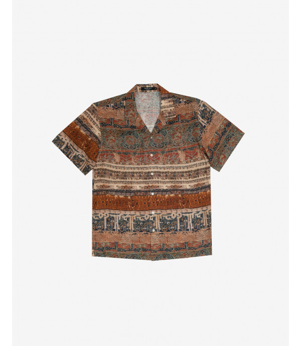 Folk print shirt short sleeves
