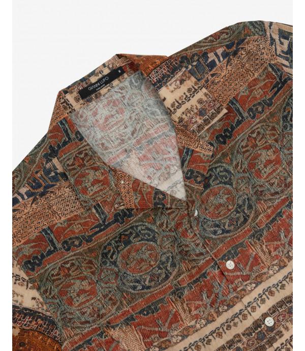 Folk print shirt short sleeves