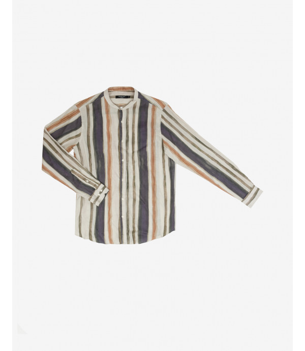 Vertical striped linen shirt