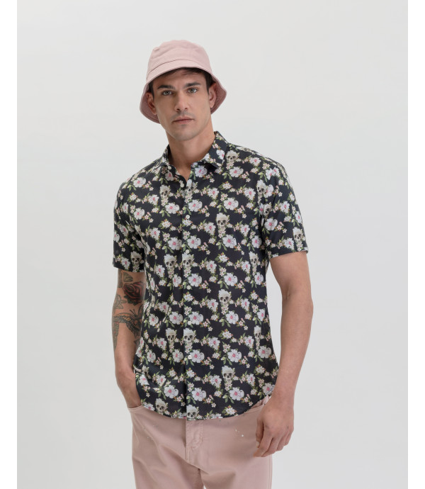 Floral pattenred Hawaiian shirt