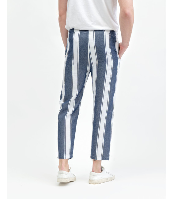 Striped comfort fit drawstring trousers