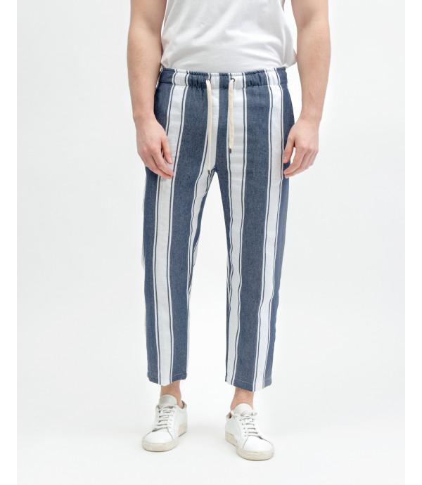 Pantalone con laccio a bande verticali