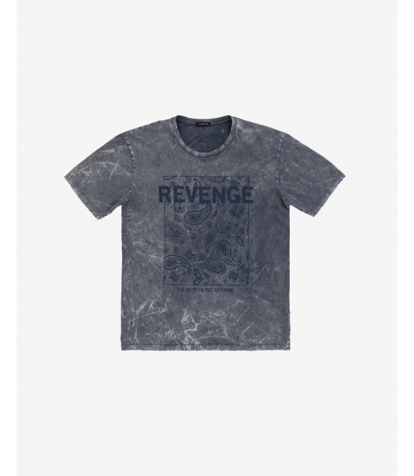 T-shirt with marbling effect and print