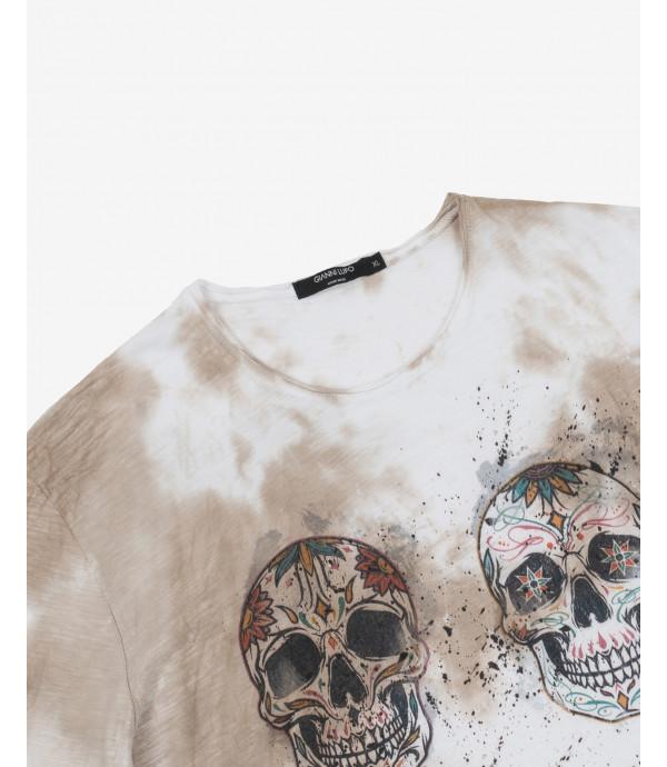 T-shirt tie dye con stampa messicana
