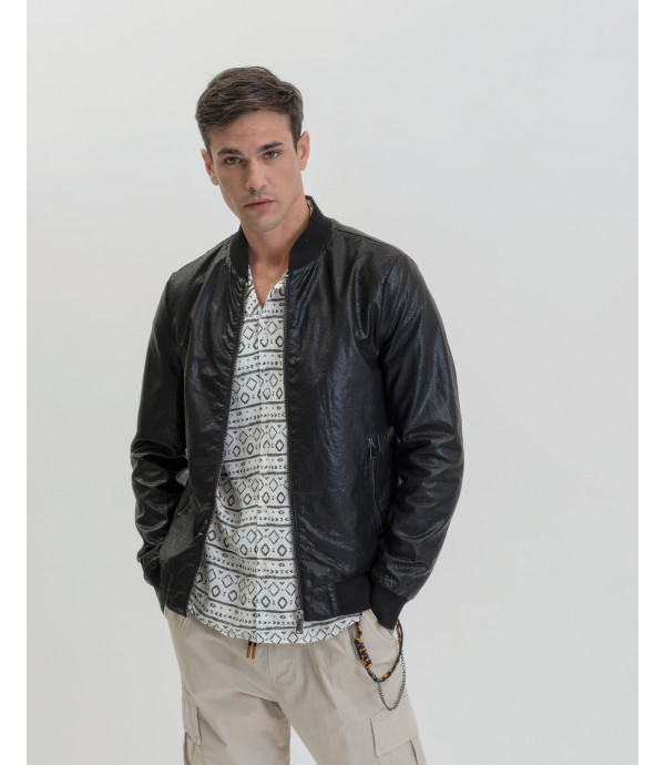 Faux-leather perforated jacket