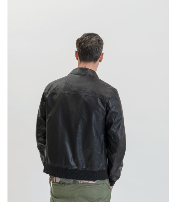 Fuax-leather jacket with pockets