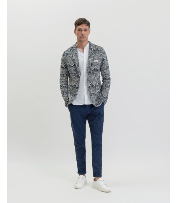 Patterned deconstructed blazer
