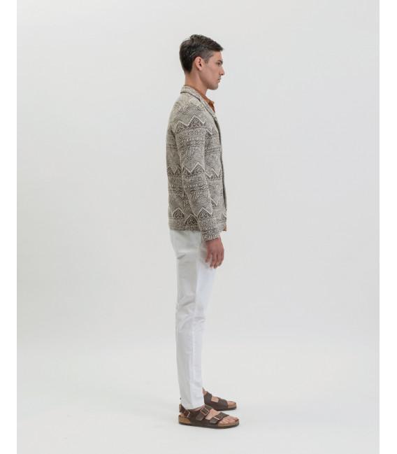 Patterned deconstructed blazer