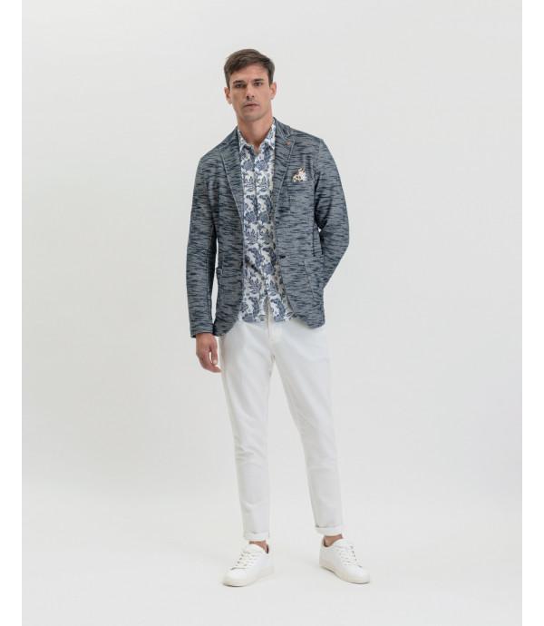 Slubbed fabric deconstructed blazer