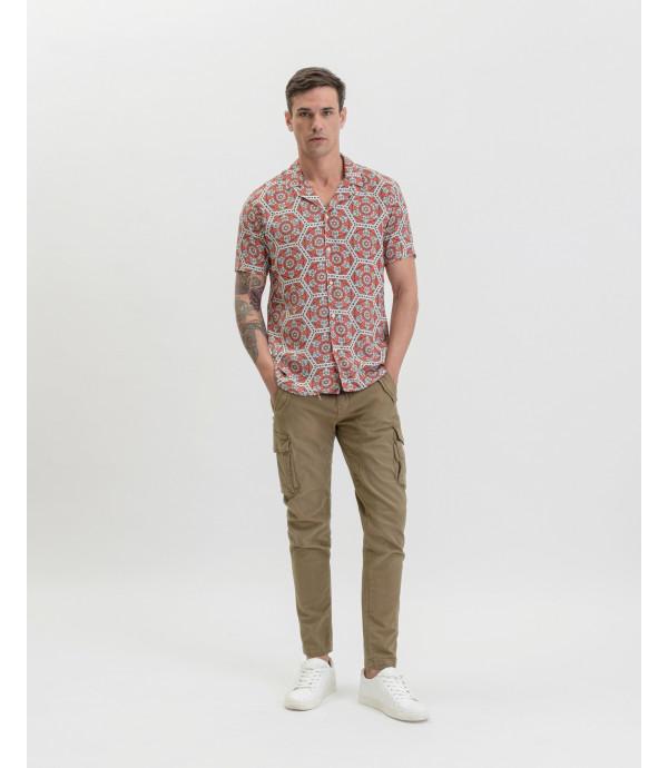 Geometric patterned Hawaiian shirt