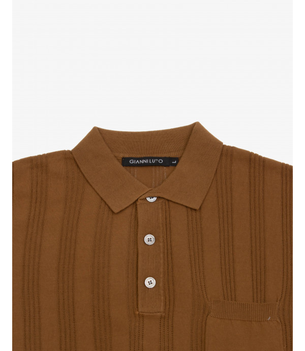 Polo shirt with vertical seethrough stripes
